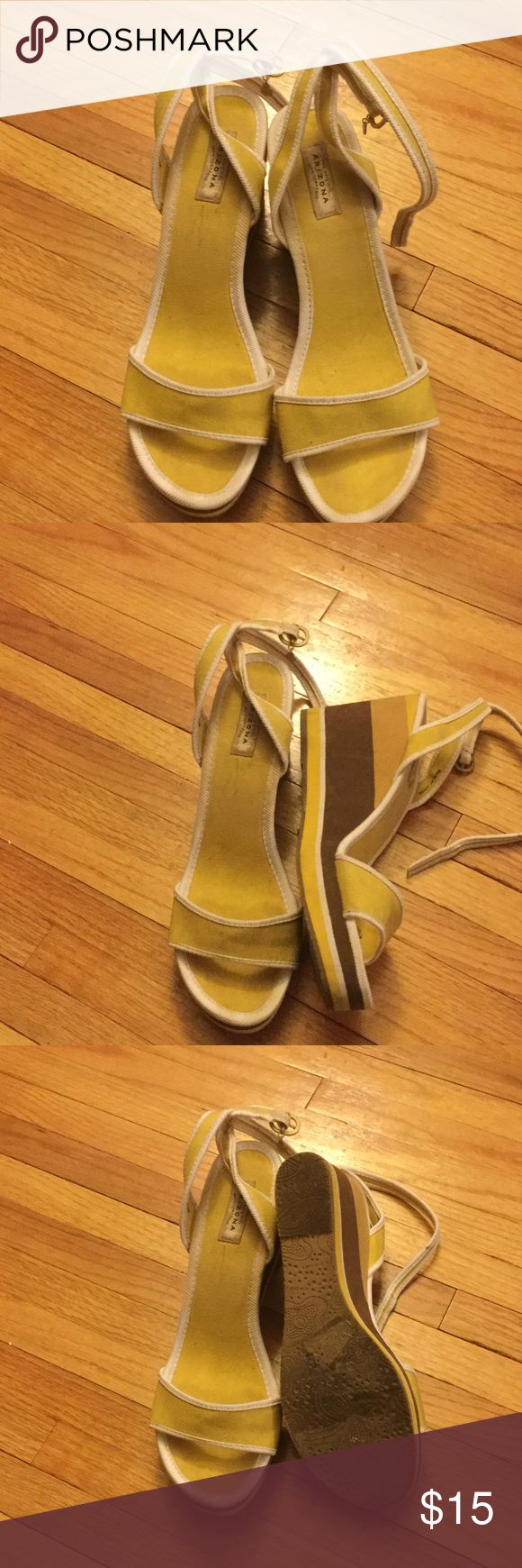 Cute Spring Wedges Cute yellow and brown wedges. US size: 10 with a 4 inch heel. Perfect bright heels for the warm weather. In gently used condition and from a smoke free home Arizona Jean Company Shoes Wedges