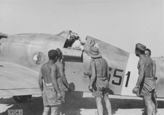 WW1,WW2 PHOTOS & FILMS    Fighter Fiat G.50 'Freccia' 351 Squadron of the Italian Air Force (351 Squadriglia 'Galfetti') in Libya.