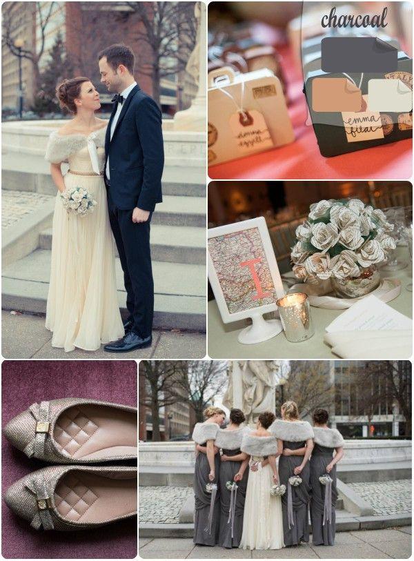 white and gray charcoal winter wedding color inspirations #elegantweddinginvites