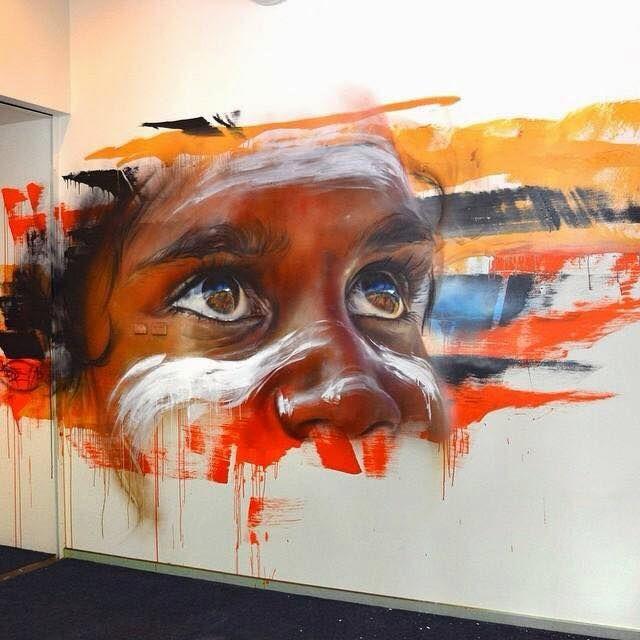 indigenous Australian mural by Melbourne artist Matt Adnate. adnate.com.au