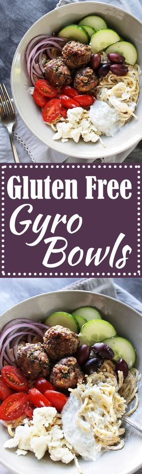 Gluten Free Gyro Bowls - Lamb meatballs, gluten free spaghetti with tzatziki sauce and all the Greek veggies! LOVE this recipe! Gluten Free