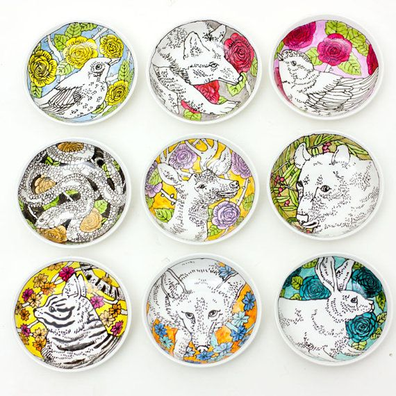 Hand-painted plates. Interesting how the background is color and the focus is not