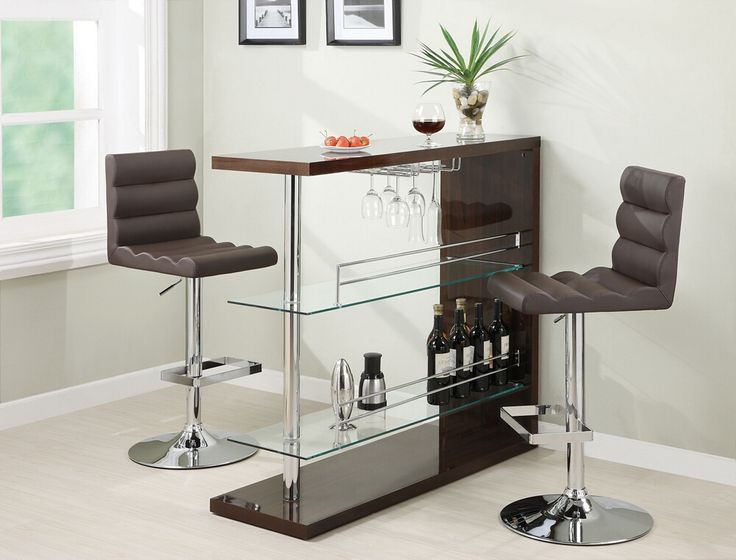 "Home bar unit modern style espresso high gloss finish bar unit with tempered glass shelves and chrome accents.  This set features a high gloss finish with chrome accents with tempered glass shelves and glass racks underneath.  Measures 15.75"" x 47.25"" x 44"" H.  Some assembly required."