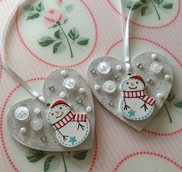 X2 Snowman Hanging Heart Wooden Christmas Decorations - Shabby Chic - Crystal  | eBay