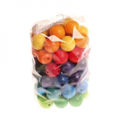 60 Perles Colorées en bois GRIMM'S