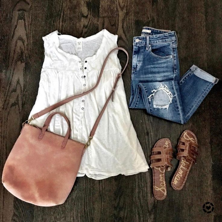 IG @mrscasual <click through to shop this look> free people tunic tank, destroyed skinny jeans, madewell crossbody bag, slide sandals