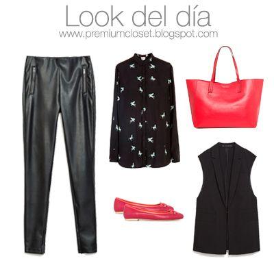 "Legging de polipiel - Zara - 19,95€/ Camisa ""Pegasus"" - Bimba y Lola - 105€/ Chaleco - Zara - 45,95€ /Bailarinas rojas - Mango - 19,95€/ Shopper rojo - Mango - 25,95€ #ootd #lookoftheday #blogspot #blogoutfit #black #red #bimbaylola #zara #mango #legging #monday #instafashion #woman #fashion #outfit"