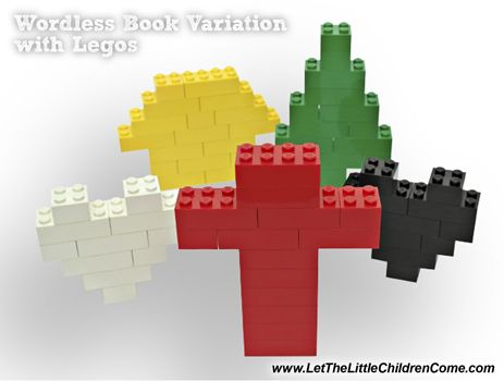 wordless-book-legos- instructions/ really liked the explanation for green= A simple way to teach about growing in the Lord? Use the acronym G.R.O.W.- Go to the Lord in prayer. Read your Bible. Obey. Worship God at church.