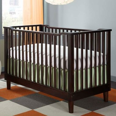 Storkcraft Santino 3 in 1 Fixed Side Convertible Crib in Espresso - SALE PRICE: $299.99 #storkcraft #moderncrib #cribsale