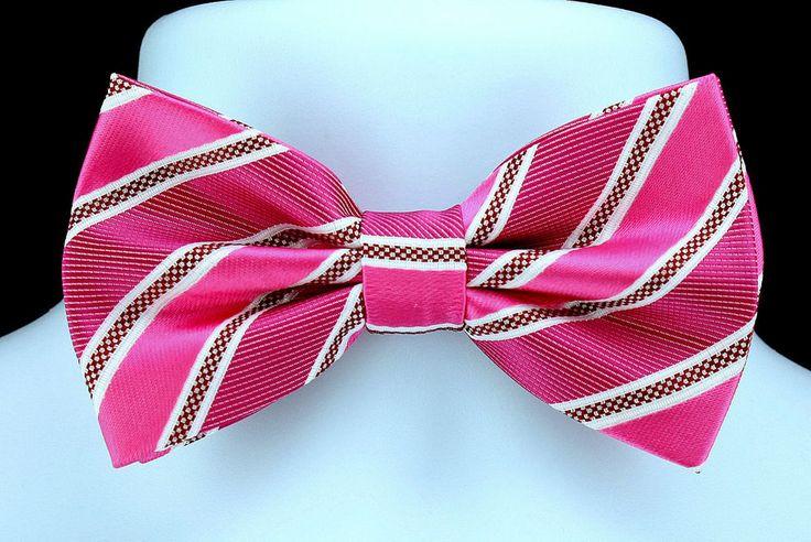 New Fuschia & Pink Mens Bow Tie + Hanky Hankie Tuxedo Wedding Fashion Bowtie Set #VenettoCollection #BowTie