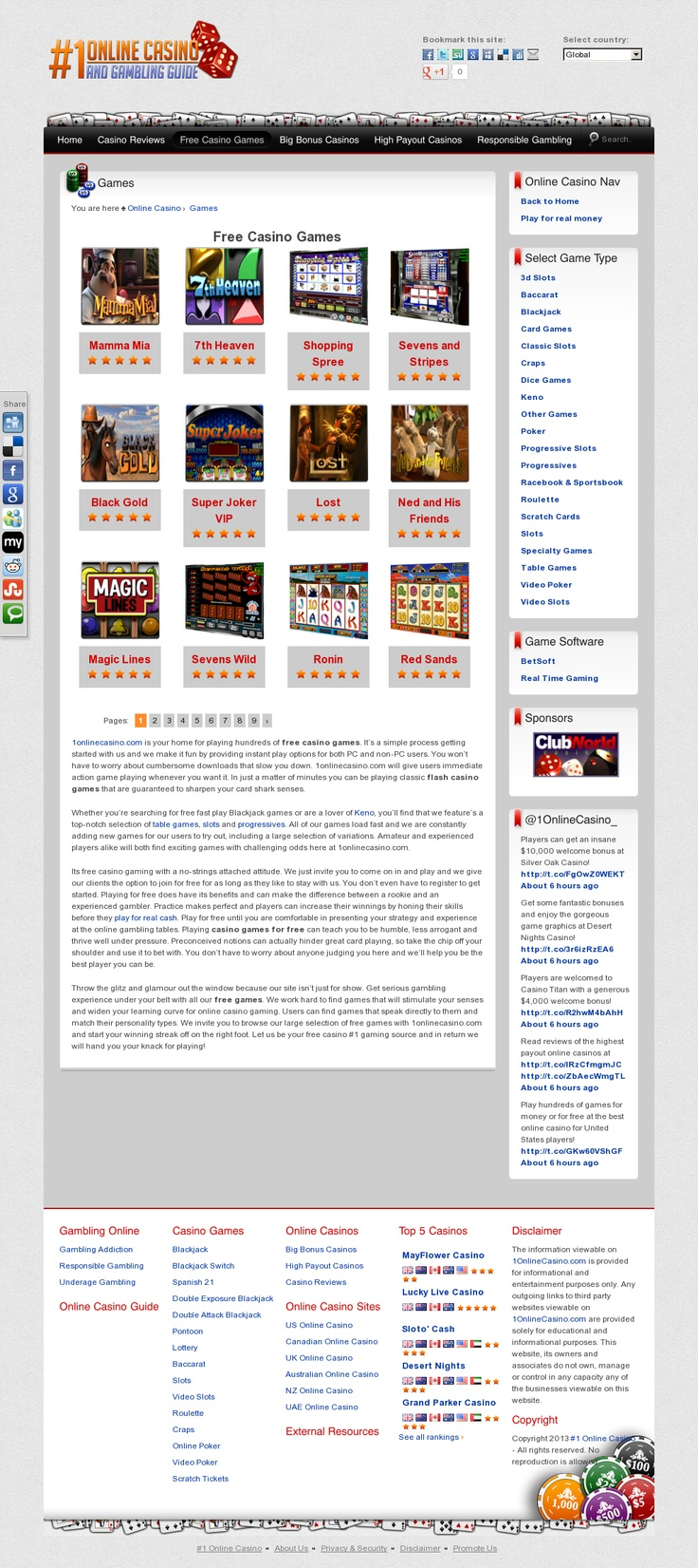Play hundreds of online casino games for free or for money at www.1OnlineCasino.com