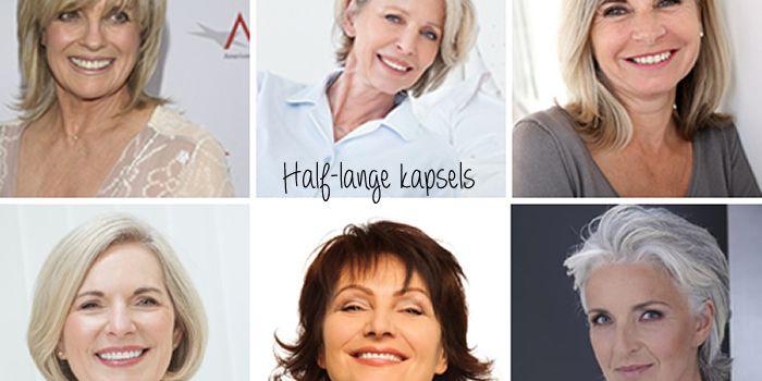 Kapsels half lang haar 50 plus. Lang haar en middellang haar voor oudere dames. 14 voorbeelden.