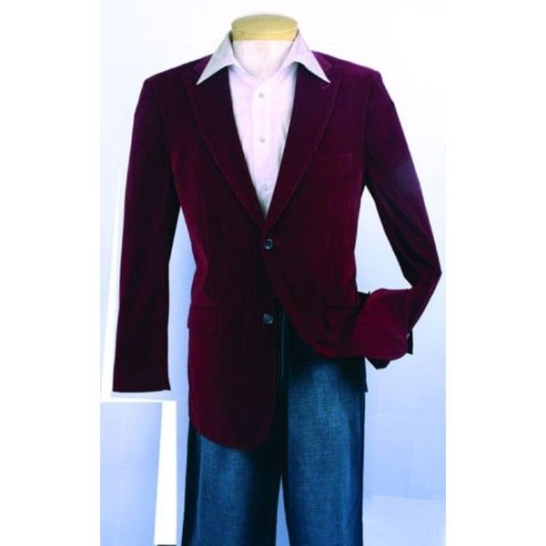 SKU#HR639 Men's Fashion Sport Coat Wine Color Velvet Fabric $139 (9,260 INR) via Polyvore featuring mens and men's clothing