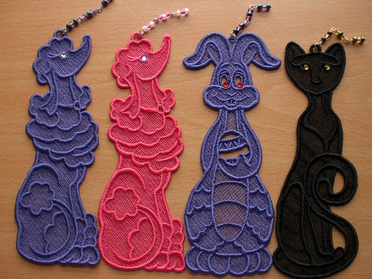 Stand Alone Lace Embroidery Designs : Free standing lace bookmarks machine embroidery fsl