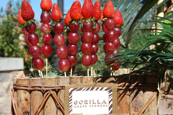 Safari party food!  Gorilla grape skewers...could these grapes be any bigger?