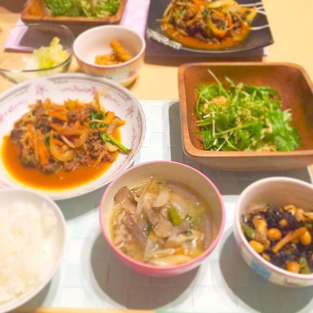 プルコギ、豚汁、ひじきの煮物、水菜と切り干し大根の亜麻仁油あえ - 15件のもぐもぐ - the和食。 by masachill