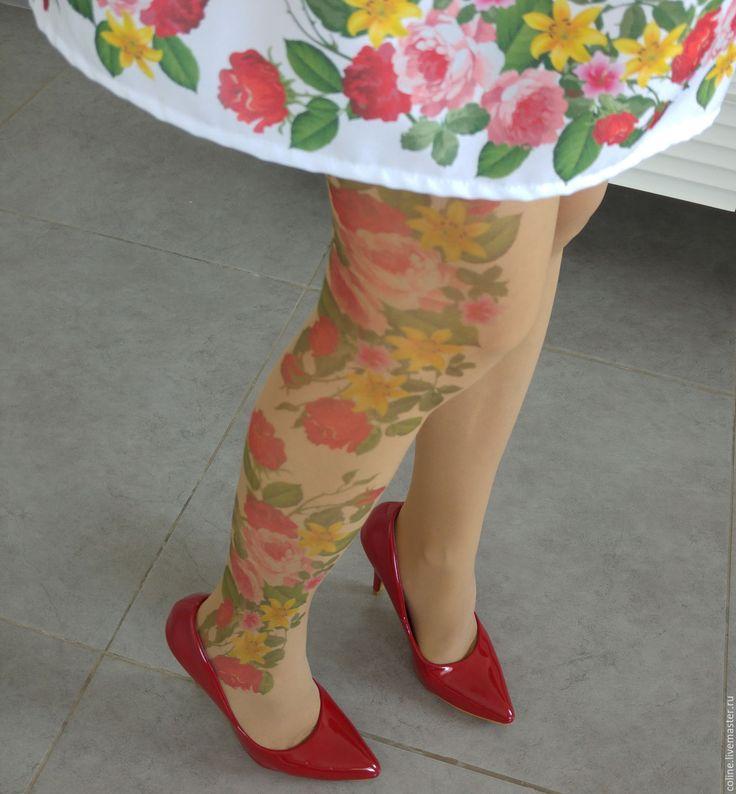 """Купить Колготки """"цветочное настроение"""" - колготки, тату, принт тату, прозрачные, модные колготки, эксклюзив"""
