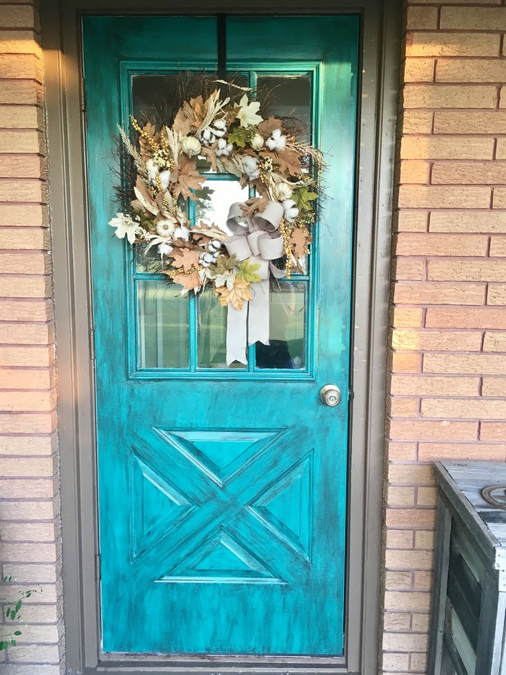 Rustic Metal Front Door Nifty Turquoise By Sherwin Williams With Gel Stain By Minwax Over The