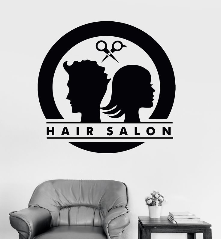 Vinyl Wall Decal Hair Salon Logo Unisex Barbershop Stylist Hairdresser Stickers (ig3389)