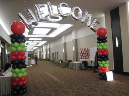 #Columns with #mylar #letters create a grand #entrance! #balloonarches #ballooncolumns  #corporateevents #companyparty #eventstoronto #ballooncorporateevents #themedevents