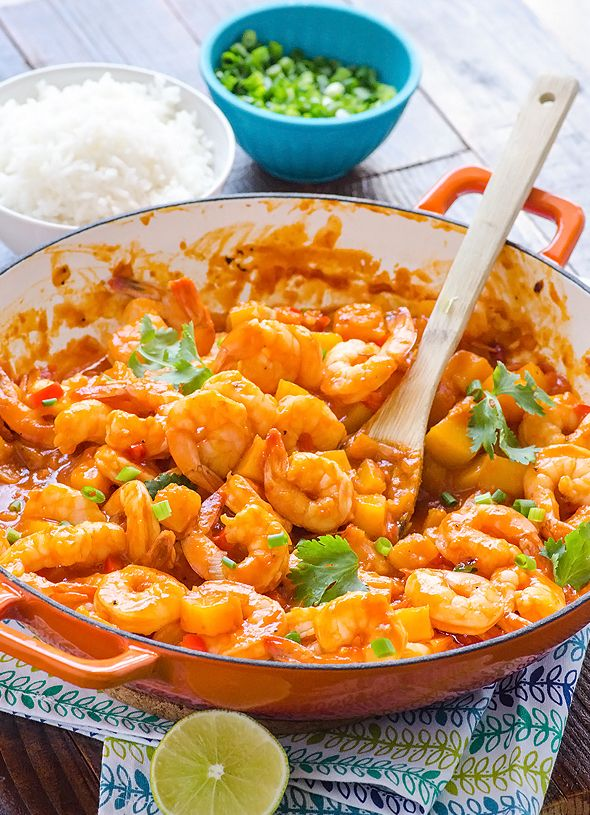 30 Minute Thai Shrimp and Squash Curry - Healthy and decadent coconut curry that is mild enough for the kids. Very simple ingredients and recipe.