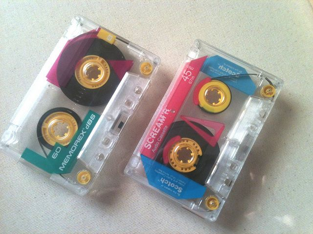 """Hah! I remember these! """"Oh man! My totally awesome, recorded from the radio, mix tapes were these very colorful, 80's style cassette tapes!"""""""