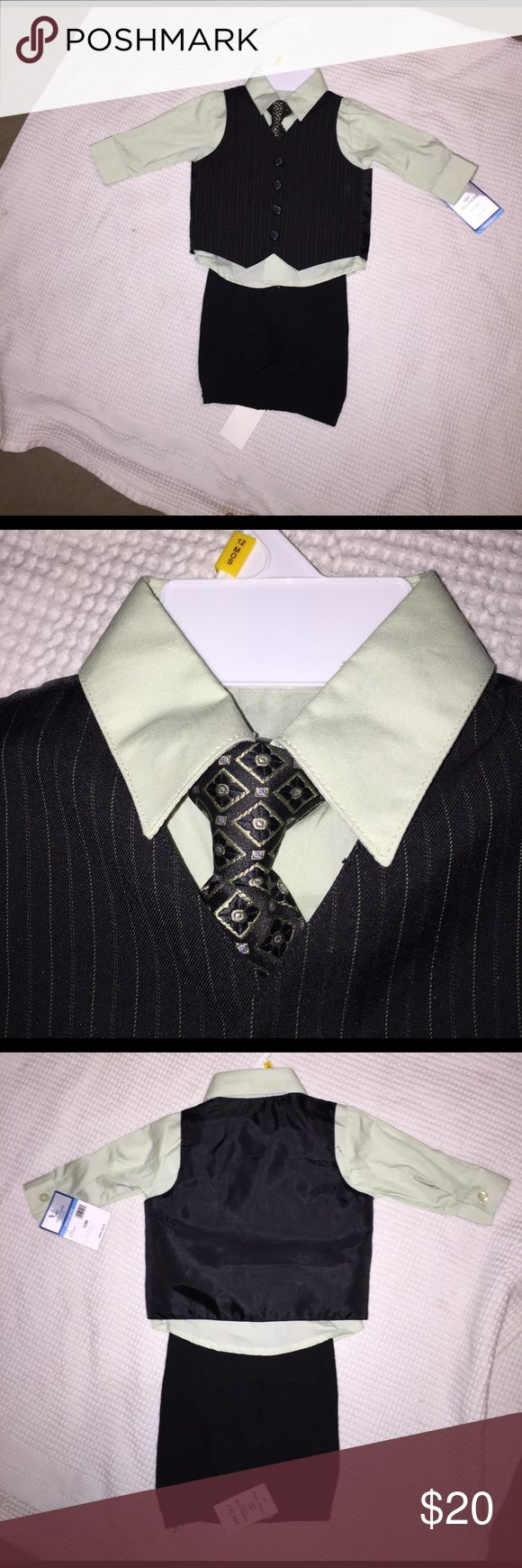 Baby boy suit set Adorable light green shirt and black suit set. Vest is black with white pinstripes and tie is black with designs Dockers Other
