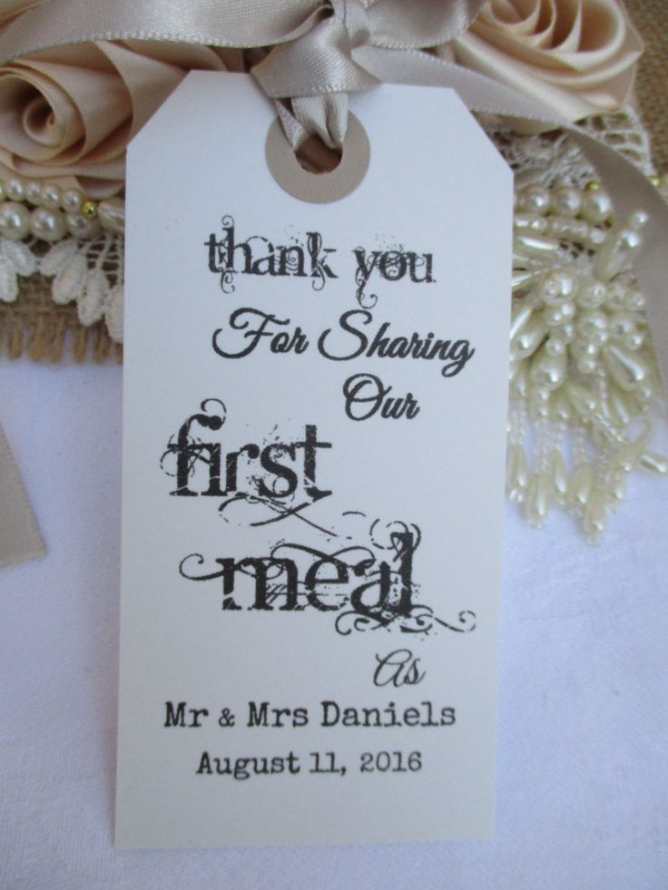 wedding custom thank you cards%0A Thank You For Sharing Our First Meal Wedding Name Place  Personalised  Napkin Tags