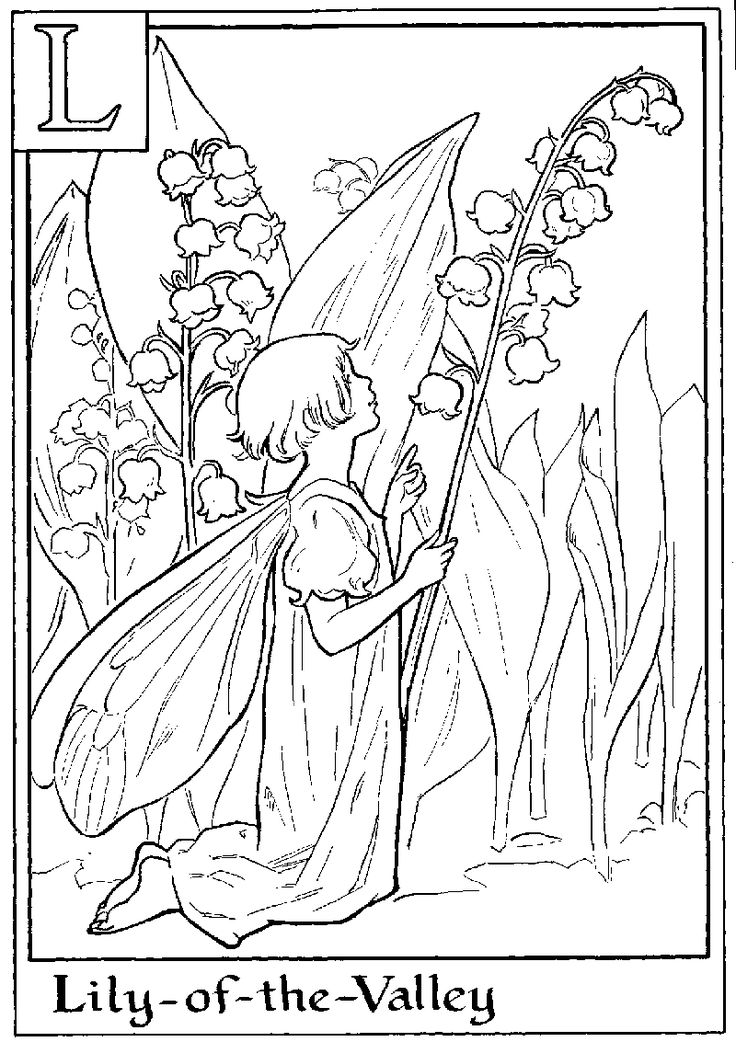 letter l for lily of the valley flower fairy coloring page flower coloring pages cartoon coloring pages flower fairies coloring pages