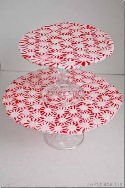 Melted peppermint tiered serving tray - really unusual (and frugal)!