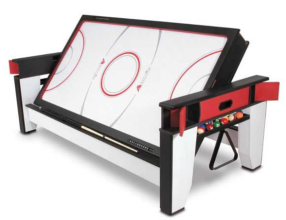 Air Hockey To Billiards Table is a great solution to those who want to build or upgrade their home game room with awesome playroom games. A gift kids love!