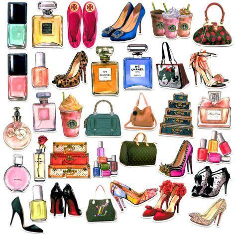 35pcs Self-made Women Accessories Handbag Scrapbooking Stickers Decorative Sticker DIY Craft Photo Albums Decals Diary Deco