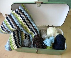 Granny stripe blanket crochet