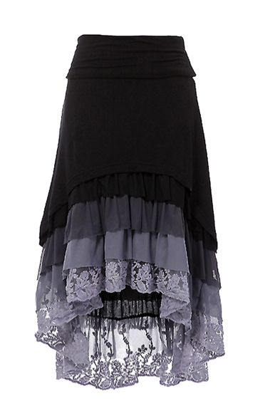 Ruffle Hi-Low skirt   Dainty Jewell's High-low hem layered ruffle skirt with fold over waist band.