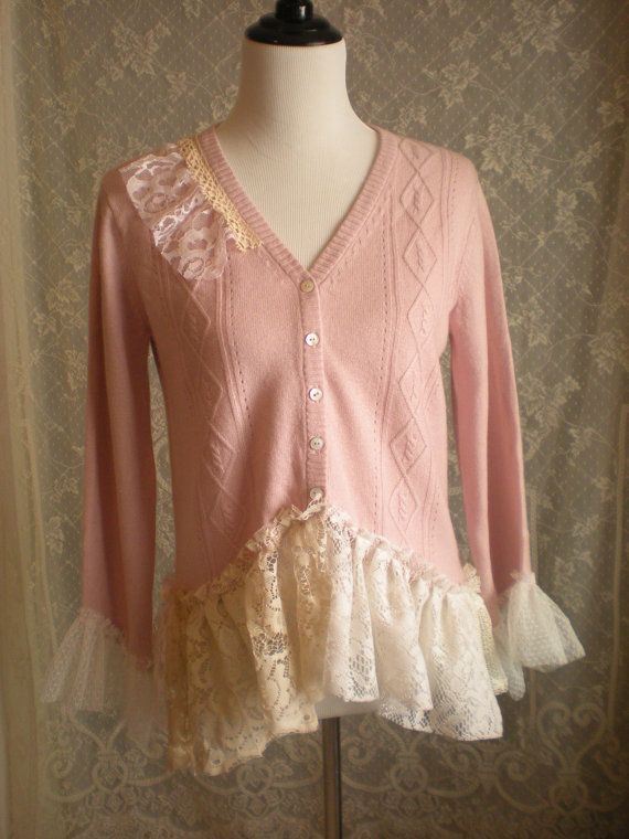 Bohemian Shabby Chic Cashmere and Silk Sweater  Size by Pursuation, $56.00
