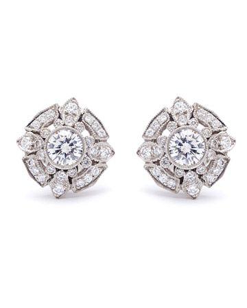 Gorgeous vintage style Diamond and Platinum Earrings