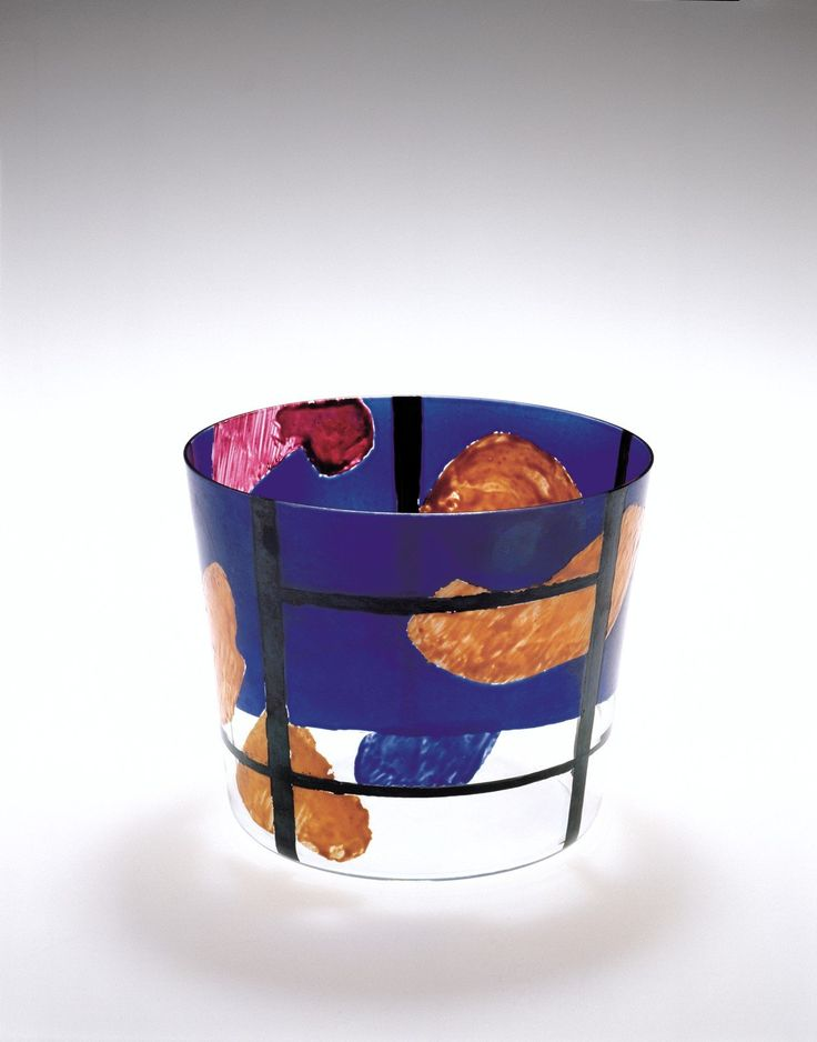 Bohumil Elias, vase with abstract landscape, H:15,0 cm, D: 18,0 cm, VSUP Prague, 1959