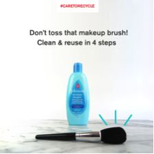 One of our tips on recycling isn't about recycling at all—it's about reusing what you have!  Here's how to clean your makeup brushes instead of tossing them out and buying new ones! 1) Gently massage the ends with olive oil 2) Wash with JOHNSON'S® Baby Shampoo 3) Rinse well. 4) Let dry thoroughly  Get more easy tips at caretorecycle.com. #CARETORECYCLE