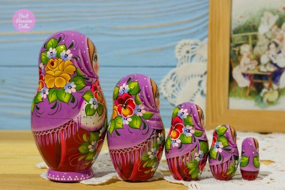 Russian doll, Gift idea for girlfriend, Matryoshka in pink floral shawl, Gift for woman, Hand painte