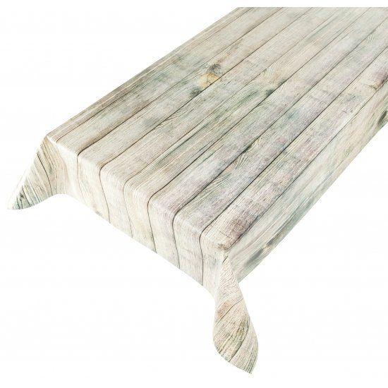 Buiten tafelkleed zeil hout beige 140 x 240 cm