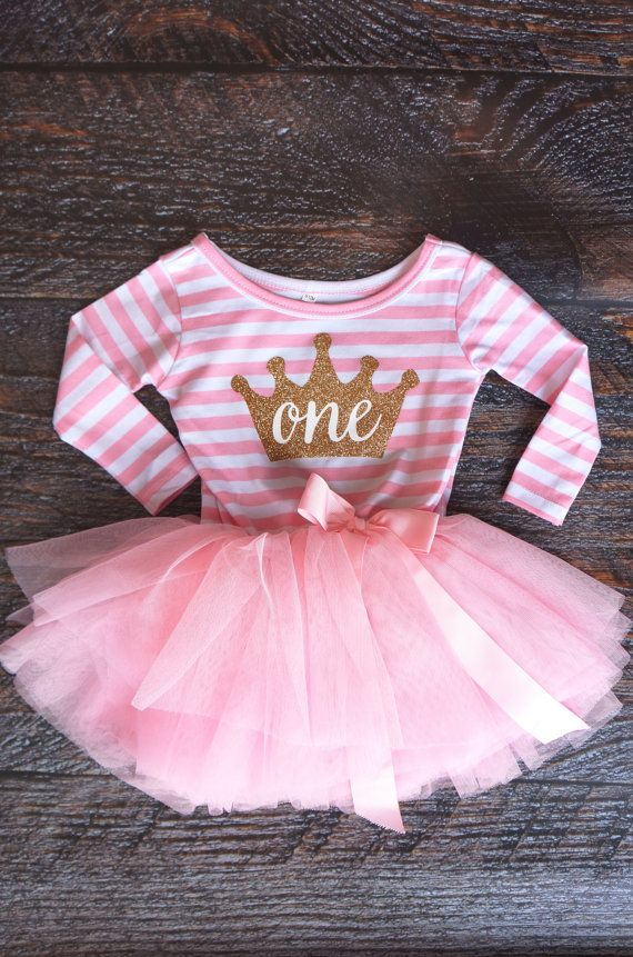 First Birthday outfit dress with gold crown and pink tutu for girls or toddlers