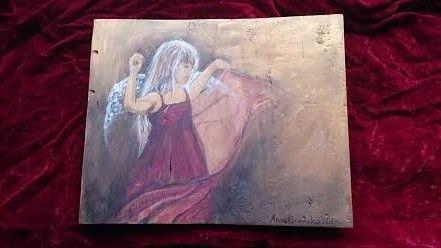 Anioł w postaci dziecka- ręcznie malowany, piękny