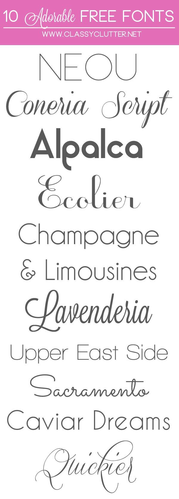 10 Adorable Free Fonts  || ClassyClutter  ~~ {10 free fonts w/ easy download links}