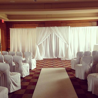 Indoor Ceremony Backdrop Hotel Banquet Room White Aisle