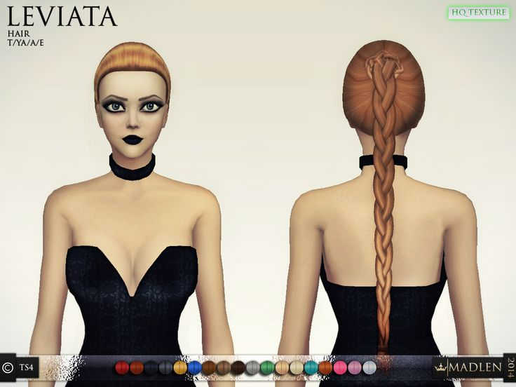 Madlen Leviata Hair Casual braid hairstyle for your sim! Mesh is completely new (made by myself) and low poly, Joints are perfectly assigned. Texture is modified EA texture. All LODs are replaced with new ones. This hairstyle is available for hat...