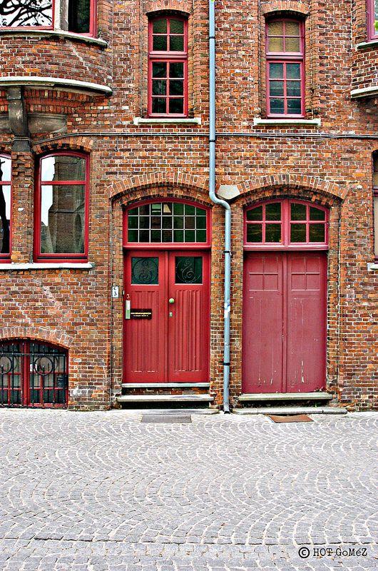 Red doors in Bruges