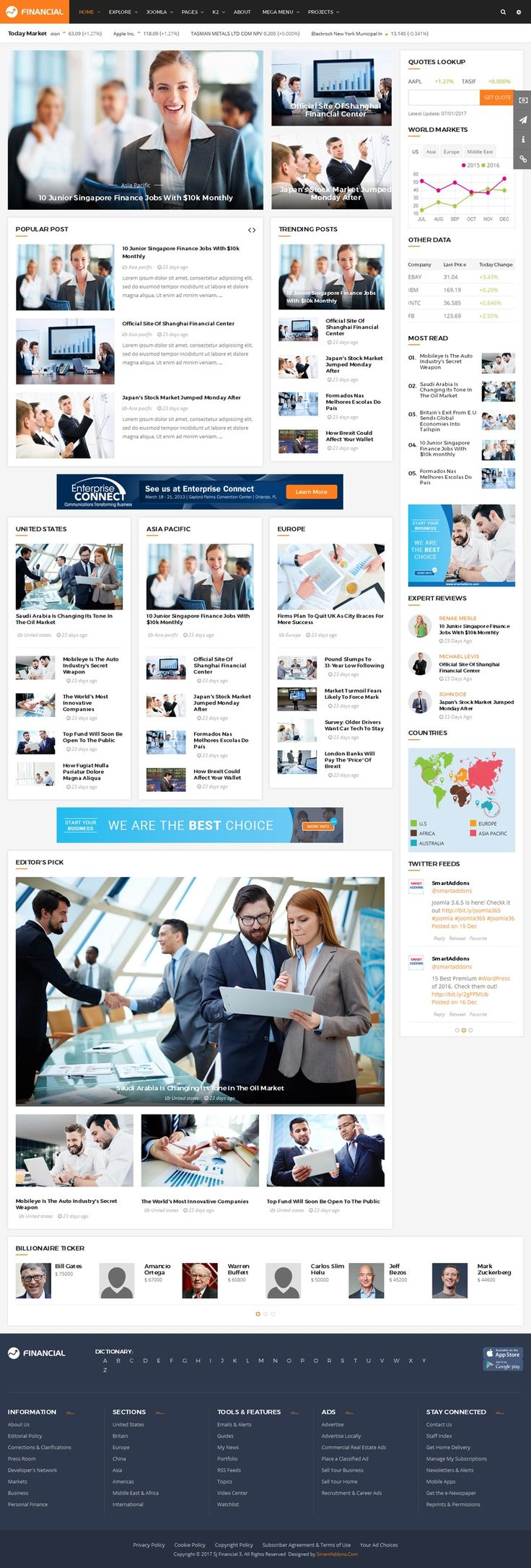 SJ Financial III is a simple, clean and powerful Joomla template that is built to fit for financial related website like Financial News, Magazine, Financial Firms, Business, Blog and much more. This news, magazine Joomla template comes supports lots of real world features that a financial related site required: World Market Statistics, Quotes Lookup, Stock Exchange...