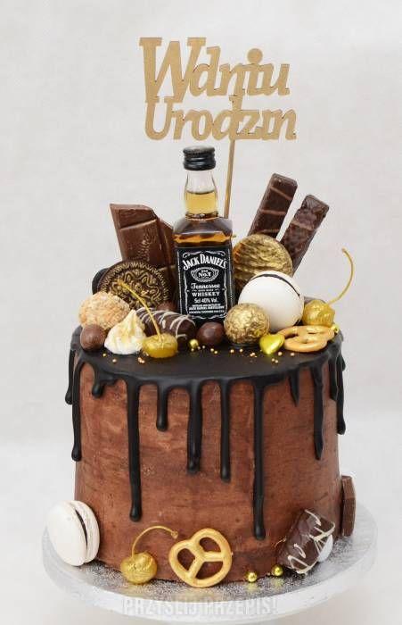 Czekoladowo - śliwkowy drip cake z whisky Beer Birthday Cake For Men, Alcohol Birthday Cake, Alcohol Cake, Birthday Cake For Husband, Funny Birthday Cakes, Fathers Birthday Cake, Birthday Cake Design, Fathers Day Cake, Bolo Jack Daniels
