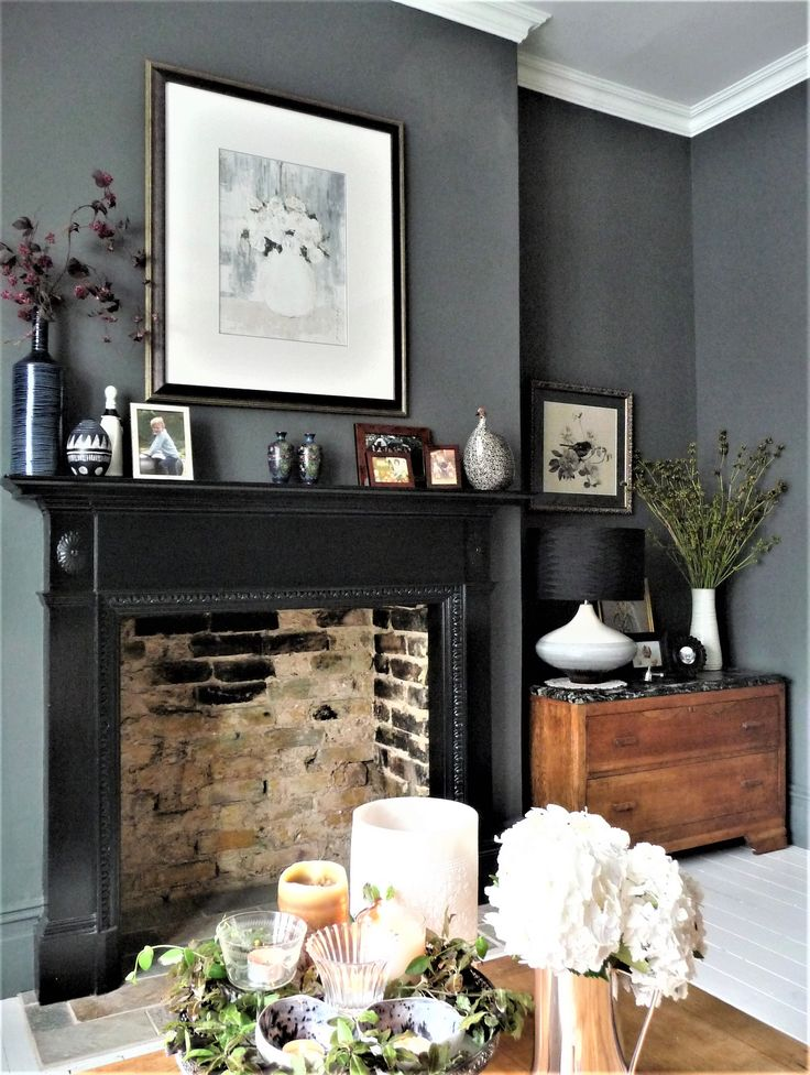 Dark grey walls, victorian terrace lounge
