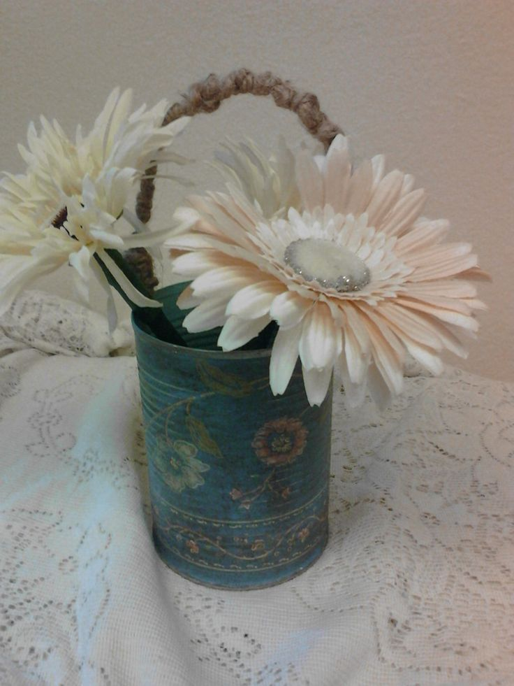 VINTAGE WALL PAPER wrapped Tin Can- Vase- Pencil Holder - Paint Brush Holder - MakeUp Brush Holder by thooker on Etsy